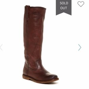 Frye Celia X Stitch Brown Flat Riding Boots EUC